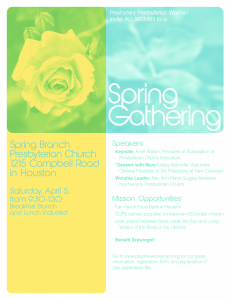 New Covenant Spring Gathering 2014 flyer