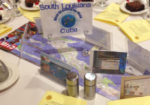 South Louisiana Presbytery supports Living Waters of the World in Cuba which helps to provide safe drinking water--picture shows a map of Cuba and a sign showing a world globe