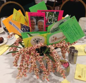 This centerpiece depicts various mission opportunities for PW around the world with pictures of various mission projects on colored index cards mounted on sticks like flowers in a bowl.